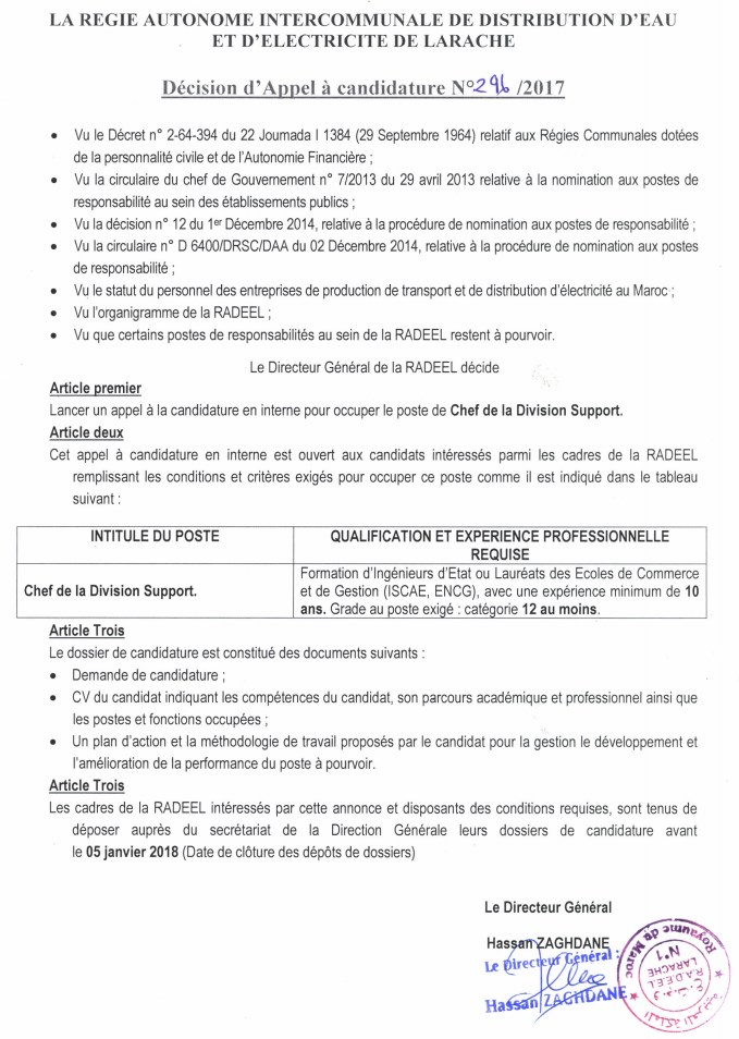 Appel a la candidature Div Support 2017 12 18